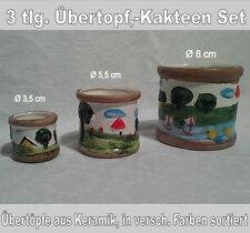 3 Stück, Übertopf Set, Kakteentopf aus Keramik, in versch. Farben sortiert