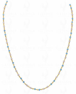 Pink & Blue Chalcedony Stone Faceted Bead Knotted Chain-Cc1031