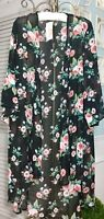 NEW Plus Size 1X Black Pink Floral Roses Open Cardigan Duster Topper