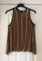 Zara Knit Black Yellow Red Metallic Thread Stripe Sleeveless Top Size S BNWT 70s