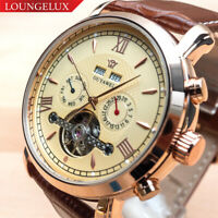 Mens Open Heart Luxury Skeleton Automatic Mechanical Move Calendar Leather Watch