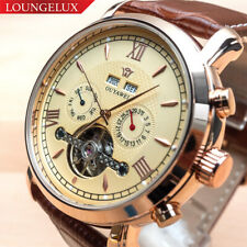 Mens Flywheel Luxury Skeleton Automatic Mechanical Move Calendar Leather Watch