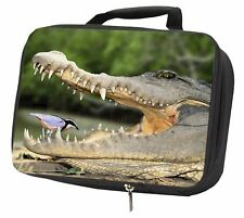 More details for nile crocodile, bird in mouth black insulated school lunch box bag, ar-c2lbb