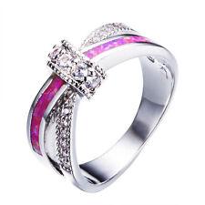 Women Pink Fire Opal & Zircon Cross Bow Wedding Ring White Gold Filled Size 4-12