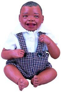 ABC Gabe Afro African American Brown Black Dark New Resin Baby Boy Doll