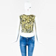 Alberta Ferretti Green Silk Floral Metallic Embroidered Blouse Top SZ 6