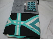 New Alcove Spainish Tile Fabric Shower Curtain ~ Black, Aqua, Teal, Ivory New