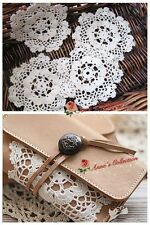 LOT 12P Vintage Hand Crochet Doily/Cup Coaster/Applique~Round~White~Snowflake~