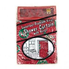 70x72'' Retro Red Christmas Santa Shower Curtain Vintage 1991 100% Vinyl