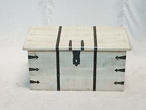 MADE TO ORDER Solid Wood Metal Rustic Treasure Chest Storage Blanket Box Coffee