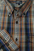 LL Bean Men's Brown Black & Blue Check Plaid Cotton Casual Shirt L Large