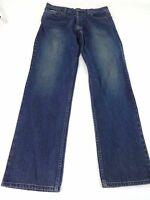 NOVEMBER ROCKER MENS BLUE DARK WASH COTTON BUTTON FLY STRAIGHT LEG JEANS SIZE 34