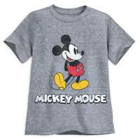 Disney Authentic Grey Mickey Mouse Classic T Shirt Tee for Boys Size 7/8