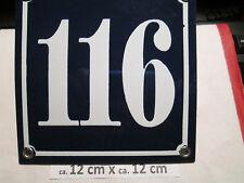 Hausnummer  Emaille Nr. 116 weisse Zahl auf blauem Hintergrund 12 cm x 12 cm