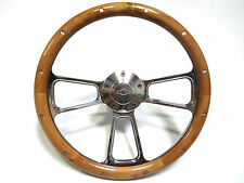 "Corvette 14"" Billet Aluminum & Real Alderwood Steering Wheel inludes Adapter"