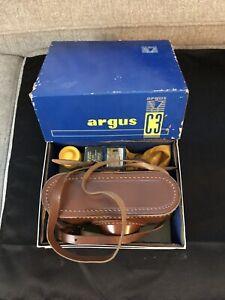 Argus C3 35mm Rangefinder Film Camera w/ 50mm Lens Box/Case/Hood/Filtes-Untested