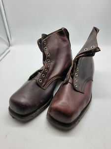 Big boots Swedish Army Work Combat Boots, Full leather BROWN VINTAGE NEW COOL