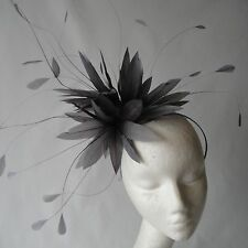 Steel Grey Feather Fascinator for Weddings, Races and Proms