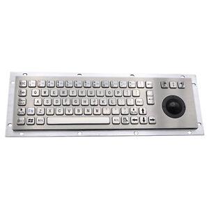 Stainless Steel Keyboards Metal Kiosk Keypad With Trackball Mechanical Keyboard