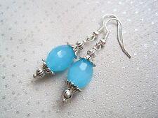 *VIVID OPAQUE AQUA TURQUOISE BLUE OVAL* Multi Faceted Glass Bead Drop Earrings