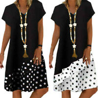 Plus Size Women's Dress Holiday Short Sleeve Polka Dot Colorblock Baggy Sundress