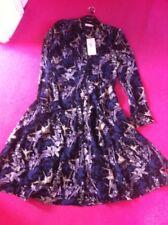 Per Una Dress Size 12 New Black Floral Leaves Birds Navy Slip Shirt dress