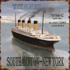 TITANIC - SOUTHAMPTON - NEW YORK - Vintage Metal Sign - 25cm x 25cm