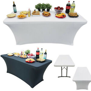 6/8FT Elastic Spandex Table Cover for Standard Folding Tables Party Buffet Cloth