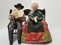 "RARE VINTAGE FRENCH OLD COUPLE 10"" MAN / WOMAN SITTING ON 9.5"" BENCH FIGURINES"