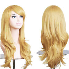 Women Full Wigs Long Curly Straight Cosplay Synthetic Heat Resistant Anime Wig