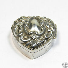 Birmingham 1900 Pillendose Antik Herzform Sterling Silber Pill Box Süßstoffdose