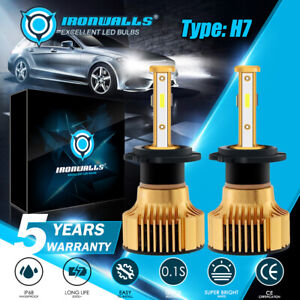 4-sides H7 Bright White 6000K LED High/Low Beam Headlight Bulbs Conversion Kit