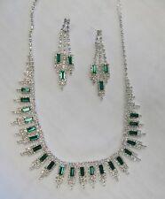 Silver Green Rhinestone Crystal Necklace Set # 16244 Wedding Prom Bridal Jewelry