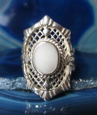 Rx Ring Sterling Silver 925 Pearl White Honeycomb Socket