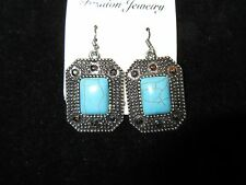 Stud Rhinestone Faux Turquoise Jeweled Nwt Dangle Statement Earrings Silver Tone