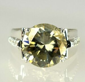 Huge & Rare 12.18 Ct Champagne Diamond Solitaire Halo Men's Earthmined Ring