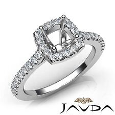 Diamond Engagement Cushion Semi Mount Halo Prong Set 0.5Ct Ring 14k White Gold