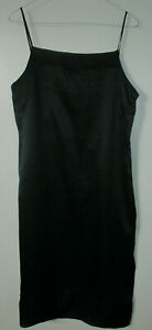 TL03 Womans Silk Black Long Slip Night Gown Size Small