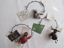 Cardinal Moose Mouse Christmas JINGLE BELL Ornaments Winter bird Tender Heart 3p