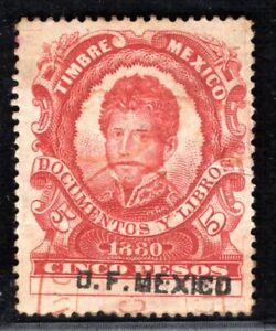 MEXICO Revenue Stamp 5P *Documentos y Libros* 1880 Used ex Collection PURPLE184
