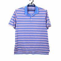 Adidas Mens Striped Polo Golf Shirt L Short Sleeve Blue Orange 100% Polyester