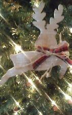 "Nice New Rustic 8"" Kurt Adler Mountain Christmas Wooden Reindeer Ornament!"