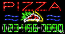 """NEW """"PIZZA"""" 32x17 w/YOUR PHONE NUMBER SOLID/ANIMATED LED SIGN 25032"""