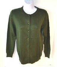 CIELO Women's Lightweight Shank Button L/S Jackie Cardigan Sweater, Olive