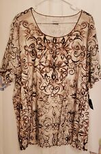 NEW Basic Editions Womens Plus Size Brown Print Short Sleeve Top Shirt 3X