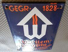 Württembergische Feuerversicherung Stuttgart altes Emailschild um 1930
