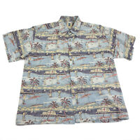 Hawaii Mens XL Hawaiian Golf Shirt Aloha Vintage Kahala Palm Trees Golfer