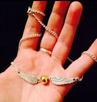 """Harry Potter golden Snitch Necklace 20""""chain Deathly Hallows Charm Pendant *UK*"""