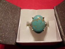 Blue Howlite Solitaire Ring w/Diamond Accents in Stainless Steel-Size 10-9.91CTW