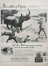 1952 Texaco Havoline Motor Oil Can Hunter Hunting Rhino Safari Vintage Print Ad